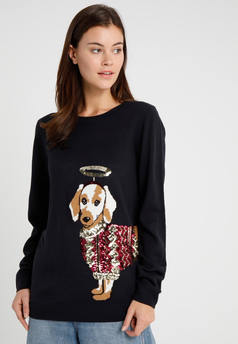 Dorothy Perkins - CHRISTMAS SEQUIN SAUSAGE - Strickpullover - navy