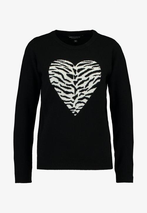 wylot Dorothy Perkins ANIMAL HEART JUMPER - Sweter - black Odzież Damska BNXG-VJ2
