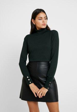 BUTTON CUFF ROLL NECK - Sweter - dark green