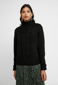Dorothy Perkins - CHUNKY FUNNEL NECK JUMPER - Jumper - black - 0