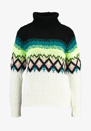 ROLL NECK NEON FAIRISLE - Strikpullover /Striktrøjer - cream