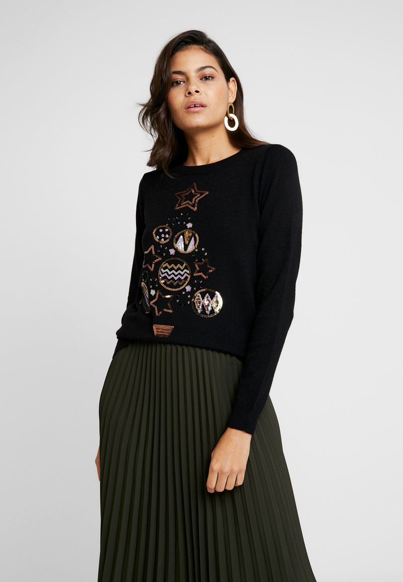 Dorothy Perkins - SEQUIN BAUBLE XMAS TREE - Jumper - black