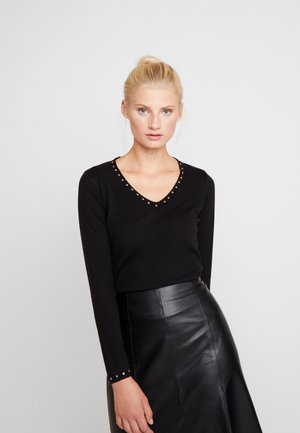 V NECK STUD FINE GAUGE JUMPER - Maglione - black