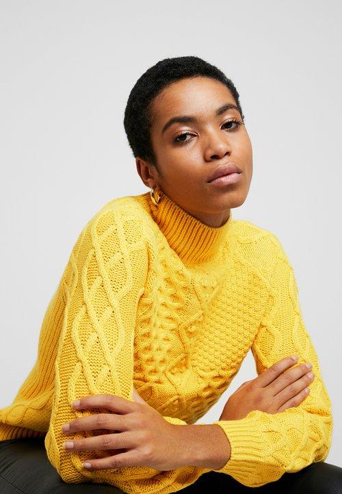 Dorothy Perkins CABLE JUMPER - Sweter - Yellow Odzież Damska HRHD-KQ4 nowy