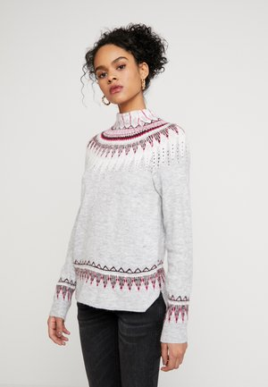 FINE GAUGE FAIRISLE JUMPER - Jumper - grey