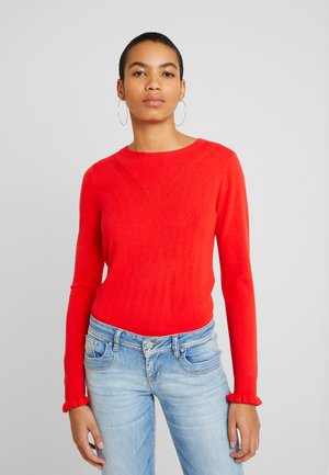 RUFFLE CUFF JUMPER - Strikkegenser - red