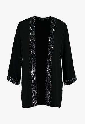 EMBELLISHED TRIM COVER UP - Halflange jas - black