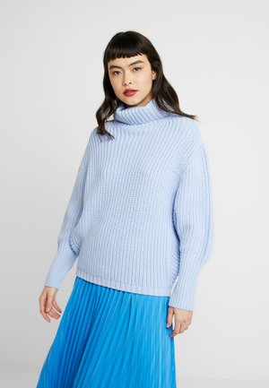 BATWING ROLL NECK - Strickpullover - blue