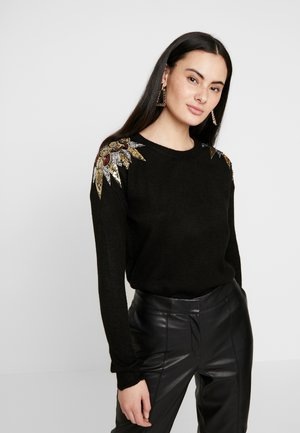SEQUIN SHOULDER - Jersey de punto - black