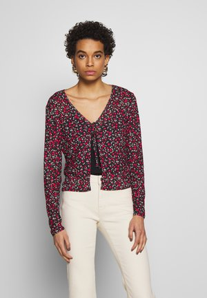 DITSY PRINT TIE FRONT MESH - Cardigan - red