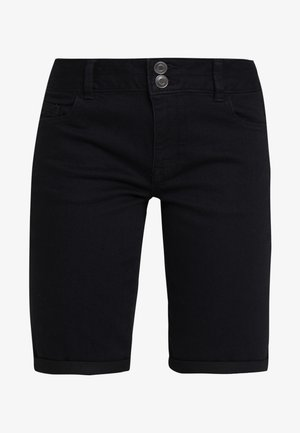 DOUBLE BUTTON KNEE - Jeansshort - black