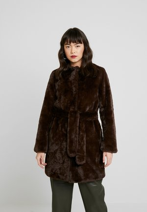 LONGLINE WITH SELF BELT - Winter coat - chocolate
