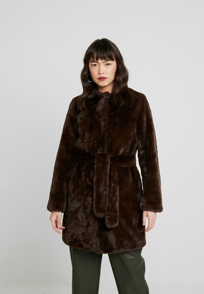 Dorothy Perkins - LONGLINE WITH SELF BELT - Cappotto invernale - chocolate