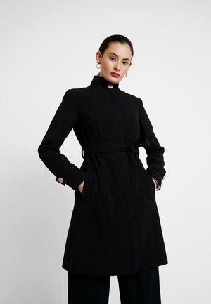 GLOSSY SHORT FUNNEL NECK COAT - Cappotto corto - black