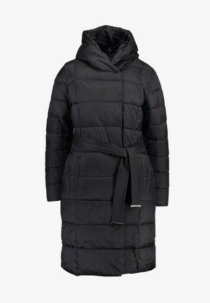 BELTED WRAP PADDED COAT - Abrigo de invierno - black