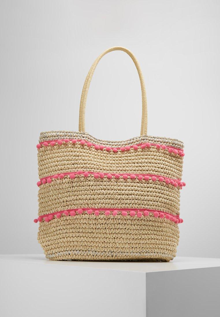 Dorothy Perkins - POM TRIM BEACH SHOPPER - Shopping bags - pink