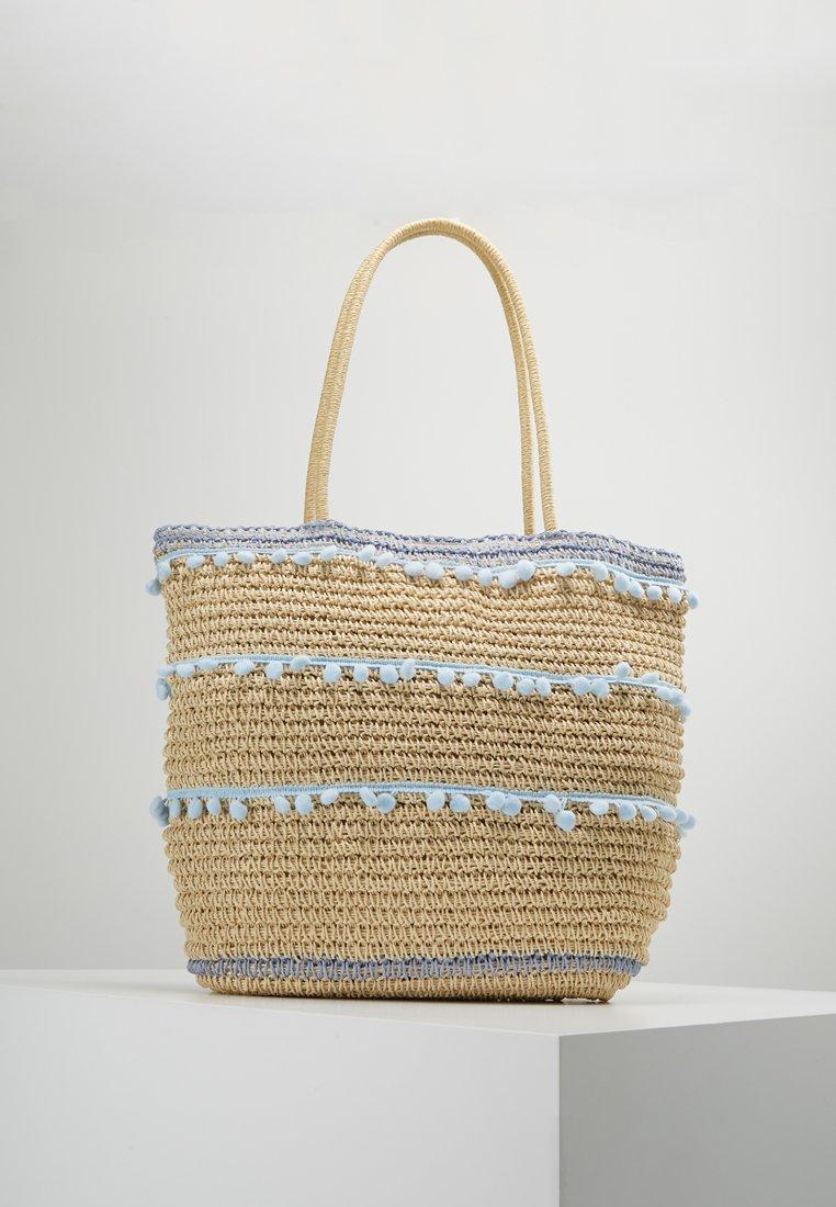 Dorothy Perkins - POM TRIM BEACH SHOPPER - Shopping bags - blue