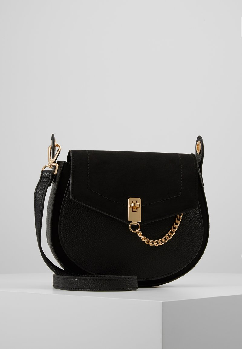 Dorothy Perkins - EYELET SADDLE CROSS BODY - Across body bag - black