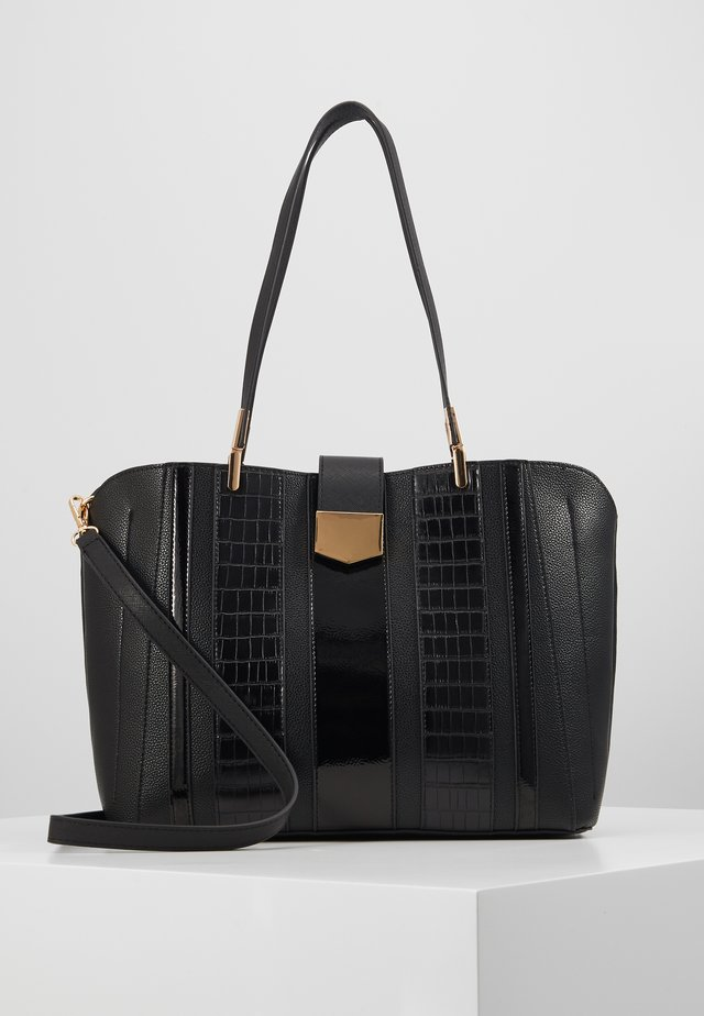 PANELLED COMPARTMENT TOTE - Shoppingväska - black