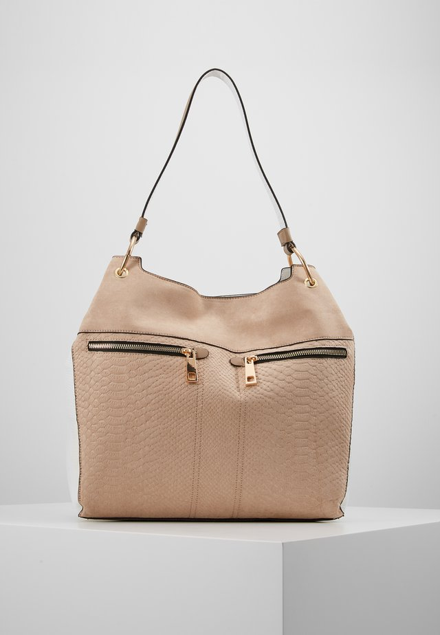 DOUBLE ZIP OVERSIZED HOBO - Handbag - stone