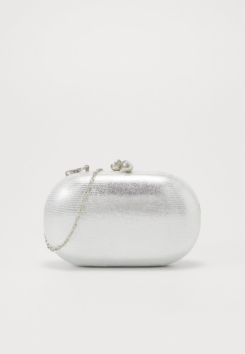 Dorothy Perkins - ROUNDED SNAKE BOX CLUTCH - Clutch - silver