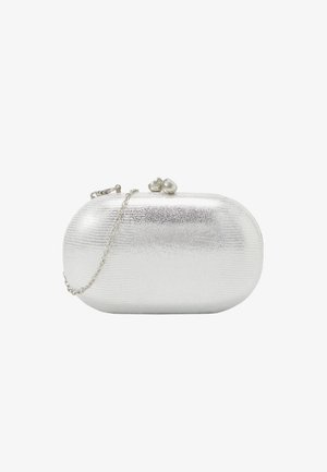 ROUNDED SNAKE BOX CLUTCH - Pochette - silver