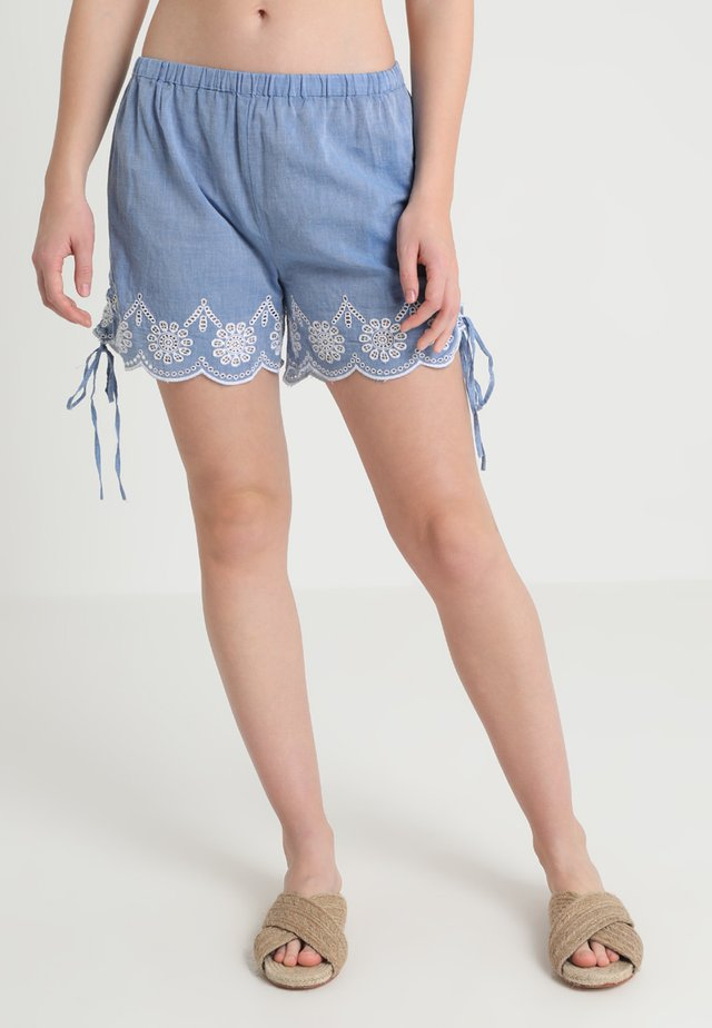BRODERIE TIE SIDE SHORTS TO HAVE A FRONT WAISTBAND - Beach accessory - blue