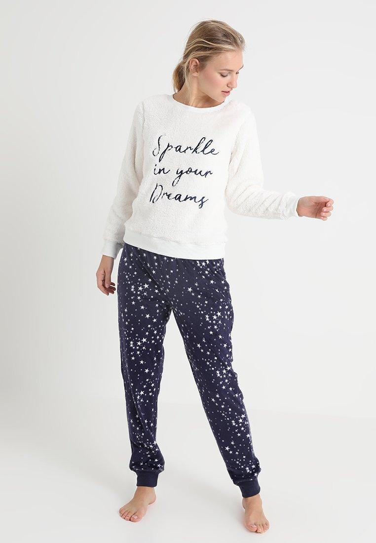 Dorothy Perkins - STAR FLUFFY SET - Pyjama - navy/cream