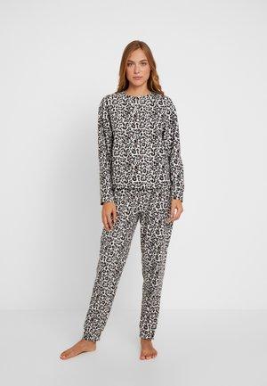 LEOPARD WAFFLE SET - Pyjama set - offwhite/nude