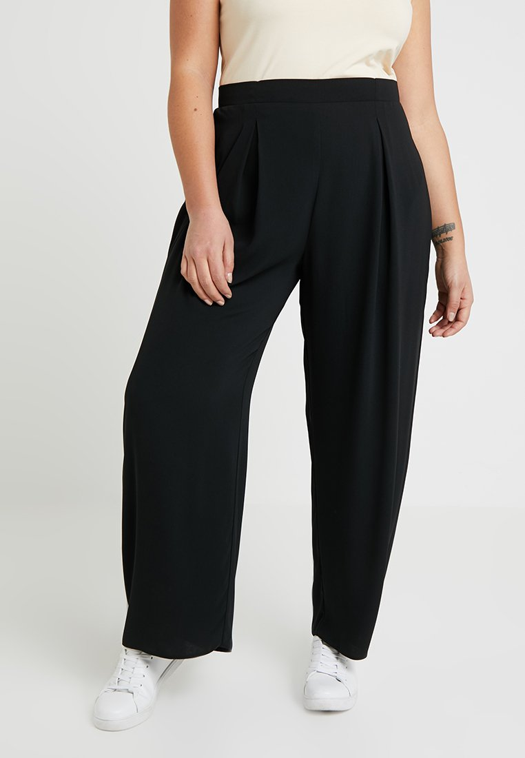 Dorothy Perkins Curve - BUTTON PALAZZO TROUSER - Pantalones - black