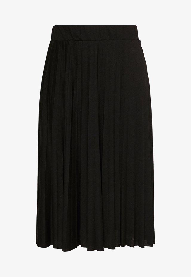 CURVE PLEATED BLACK MIDI SKIRT - A-line skirt - black
