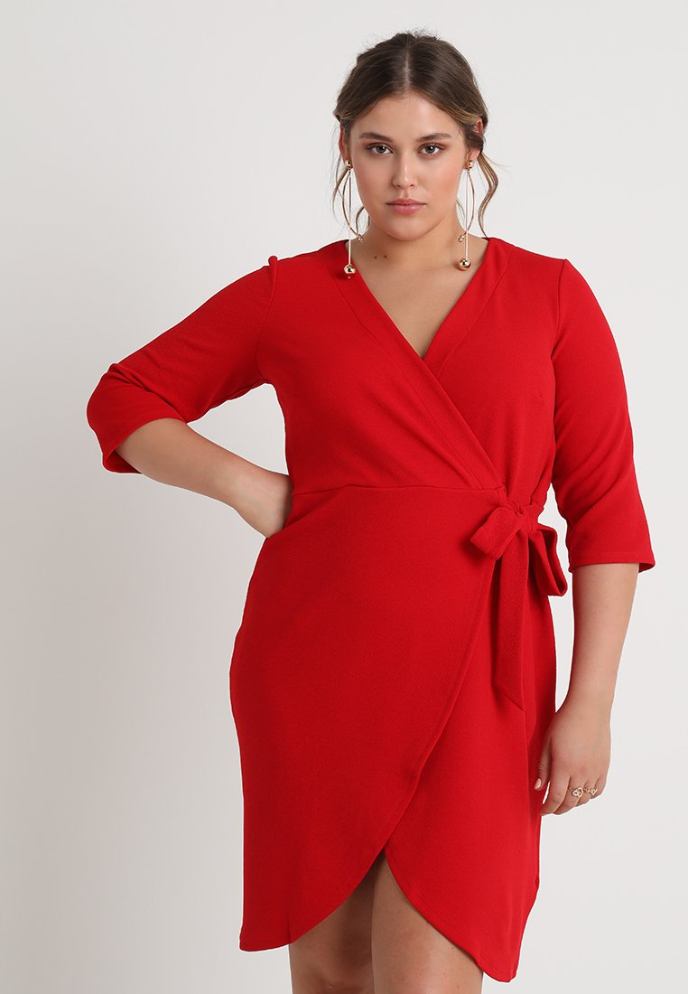 Dorothy Perkins Curve - WRAP SHIFT DRESS - Etuikjoler - red