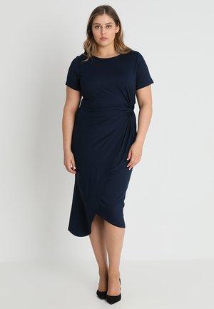 MANIPULATED BODYCON DRESS - Jerseykjole - navy