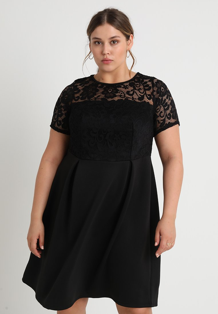 Dorothy Perkins Curve - SHORT FIT AND FLARE DRESS - Cocktail dress / Party dress - black