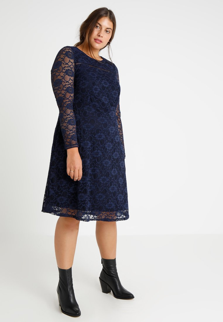 Dorothy Perkins Curve - LONG SLEEVE FIT AND FLARE DRESS - Cocktail dress / Party dress - navy