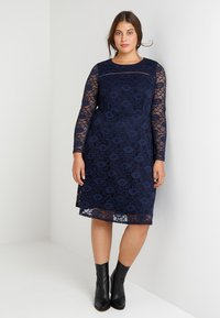 Dorothy Perkins Curve - LONG SLEEVE FIT AND FLARE DRESS - Cocktail dress / Party dress - navy - 2