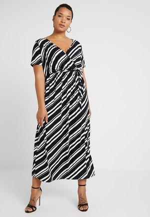 WRAP DRESS STRIPE - Maksimekko - black/white