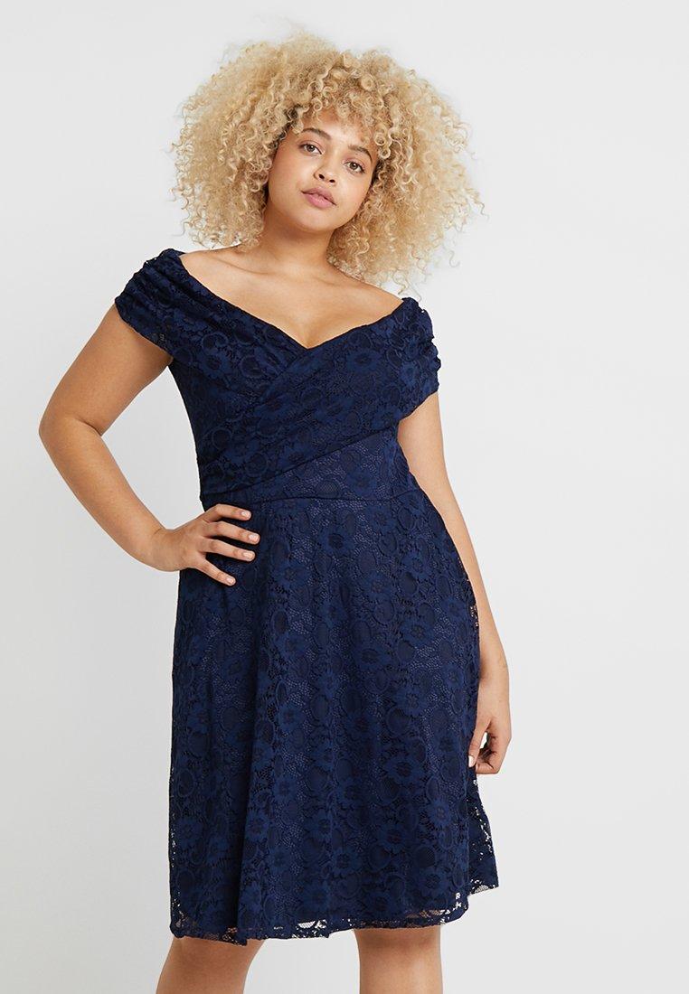 Dorothy Perkins Curve - FIT AND FLARE DRESS - Vestido de cóctel - navy