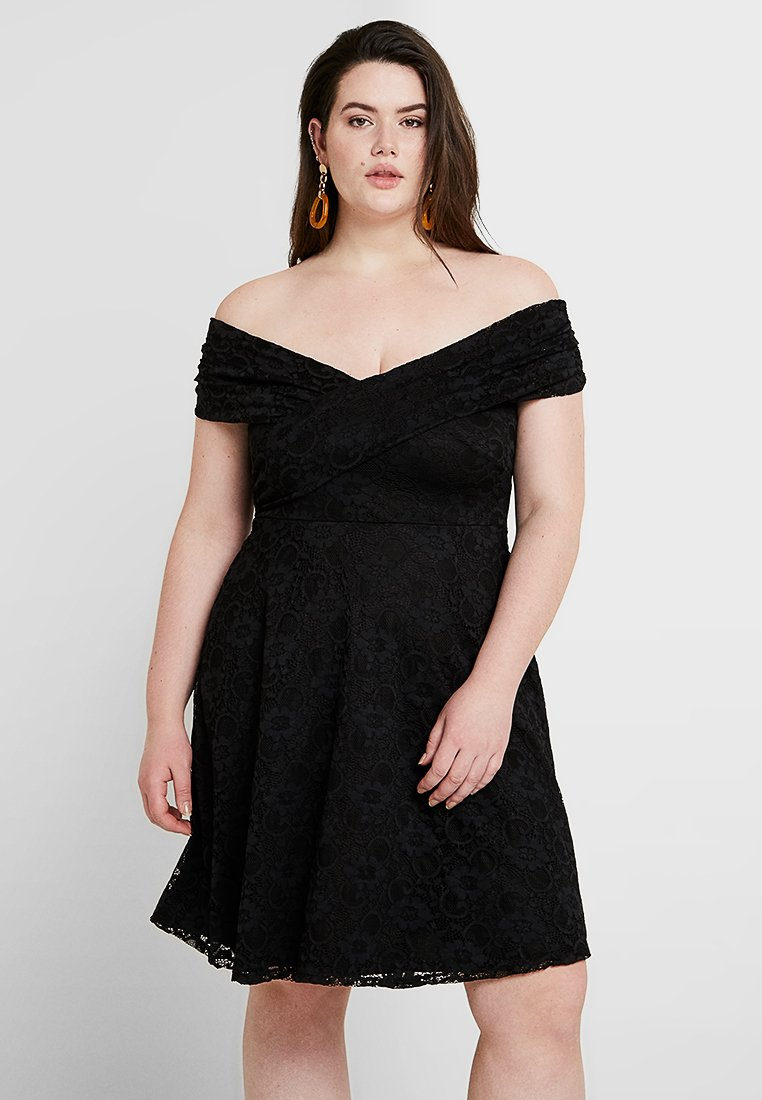 Dorothy Perkins Curve - FIT AND FLARE DRESS - Cocktail dress / Party dress - black