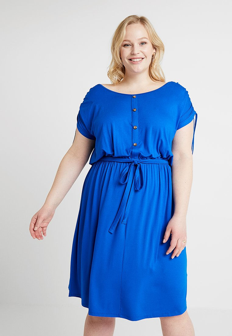 Dorothy Perkins Curve - BUTTON DOWN MIDI DRESS - Jerseykleid - cobalt