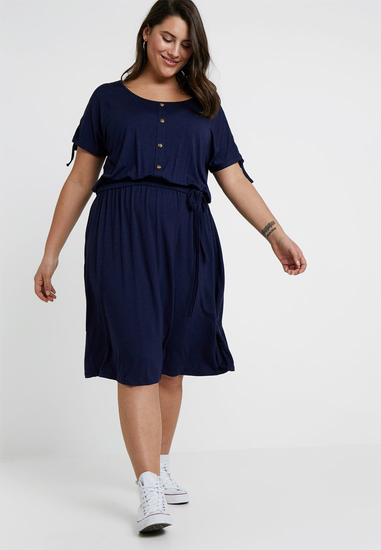 Dorothy Perkins Curve - BUTTON DOWN MIDI DRESS - Jerseykleid - navy blue