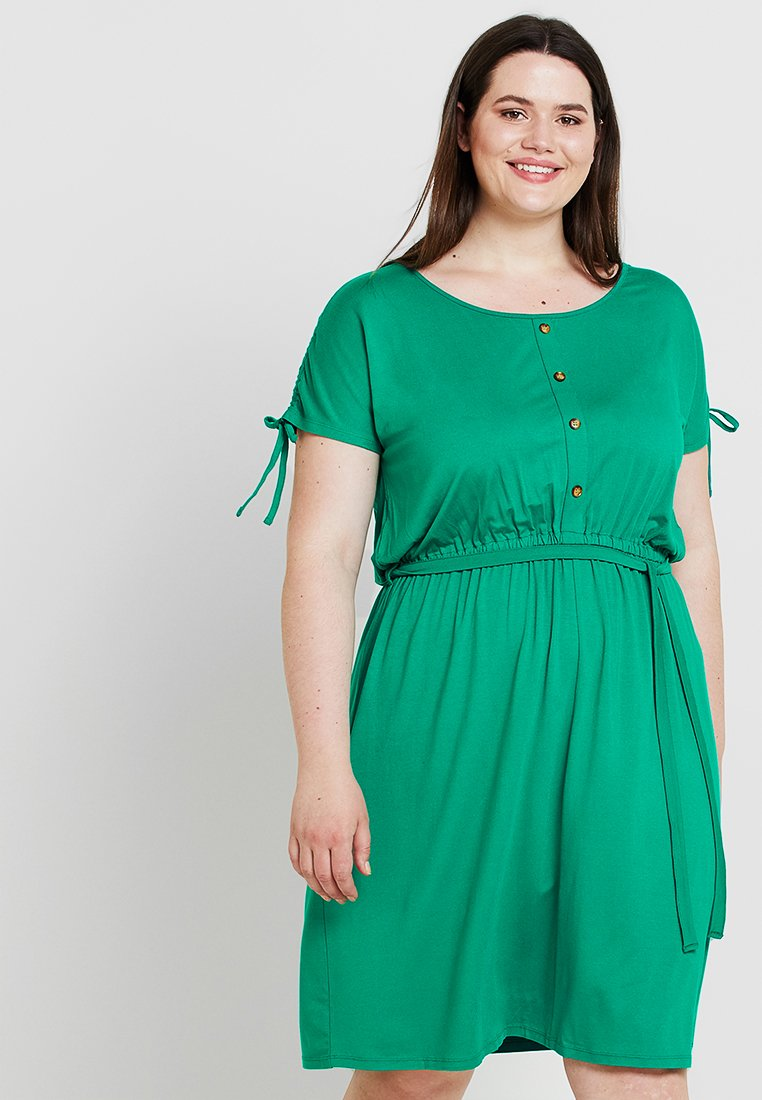 Dorothy Perkins Curve - BUTTON DOWN MIDI DRESS - Jerseykleid - green