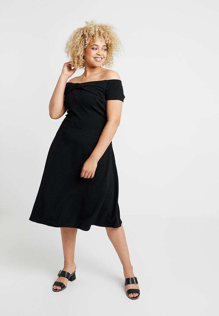 Dorothy Perkins Curve - BARDOT TWIST DRESS LIVERPOOL - Jersey dress - black