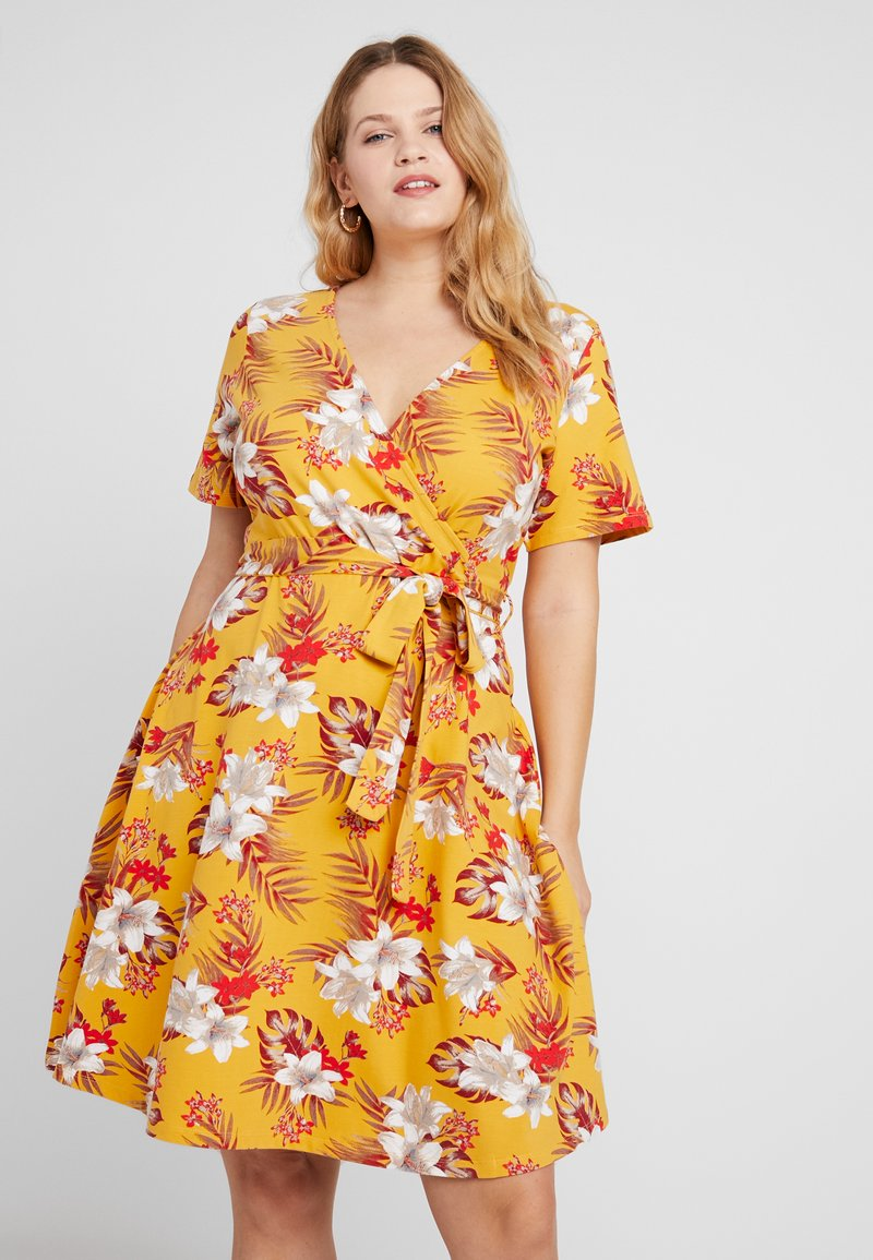 Dorothy Perkins Curve - WRAP PRINTED DRESS FLORAL - Jerseykleid - multi coloured