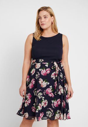 FLORAL COLOUR BLOCK MIDI DRESS - Day dress - navy