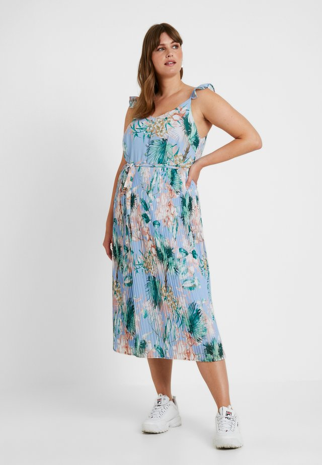 PLEATED MIDI DRESS TROPICAL WITH BUILT UP STRAPS - Maksimekko - blue