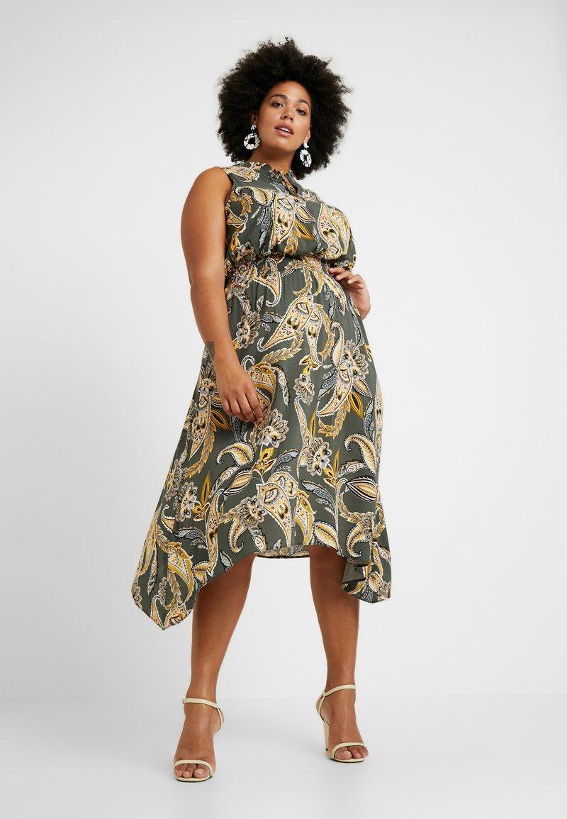 Dorothy Perkins Curve - PAISLEY SHEERED TIE NECK SLEEVELESS DRESS - Denní šaty - khaki
