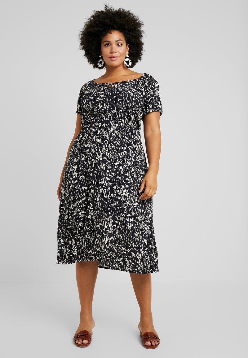 Dorothy Perkins Curve - SHORT SLEEVE GYPSY MIDI DRESS ABSTRACT PRINT - Denní šaty - black