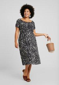 Dorothy Perkins Curve - SHORT SLEEVE GYPSY MIDI DRESS ABSTRACT PRINT - Vestito estivo - black - 2