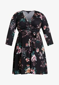 Dorothy Perkins Curve - WRAP DRESS FLORAL - Jerseykjoler - black - 5